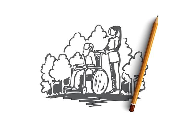 Bejaardentehuis, oude man, ouderen, gepensioneerde, gezondheidsconcept. hand getekende oude man op rolstoel met maatschappelijk werker concept schets.