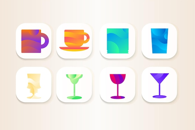 Beker en glas voor drinkwater icon set vector. collectie van glaswerk en mok voor het drinken van koffie en thee, pina colada en margarita cocktail, martini en glas versierde golven illustratie