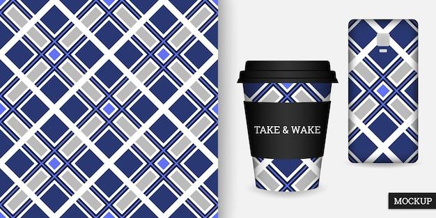 Beker en smartphonehoesje met geometrisch naadloos patroon