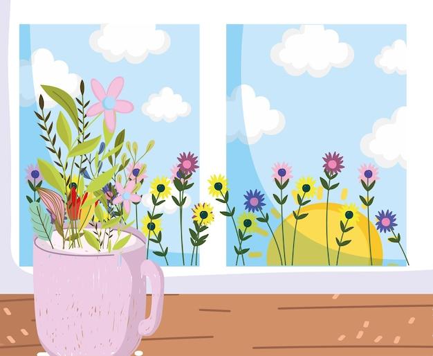 Beker met bloemen