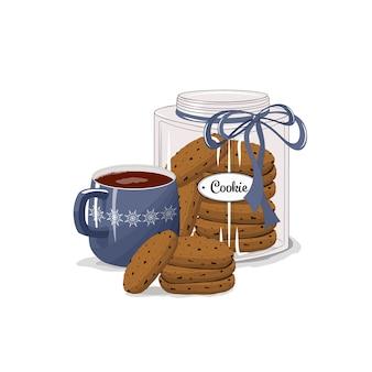 Beker met cacao, koffie en koekjes op een afgelegen witte achtergrond. vrolijk kerstfeest. kinderen, geluk, vakantie, ontbijt.