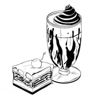 Beker met een drankje en cake. dessert dat op witte achtergrond wordt geïsoleerd.