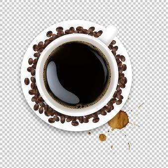 Beker met koffie en bord en koffiebonen en vlekken met verloopnet, illustratie