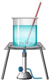 Beker met thermometer op brandende standaard