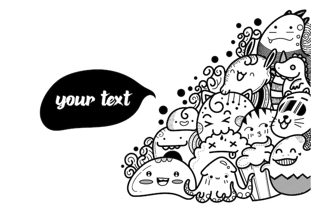 Beker schattige monster doodles