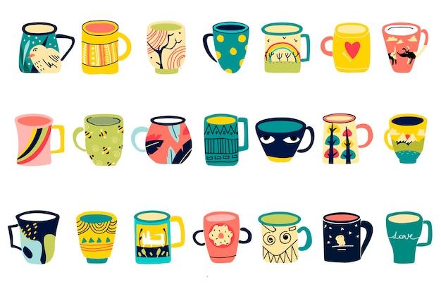 Bekers doodle set. verzameling van verschillende moderne koffiethee gekleurde mokken versierd met ontwerpelementen gevuld met dranken. trendy serviesgoed met handvat ter illustratie van de drank.