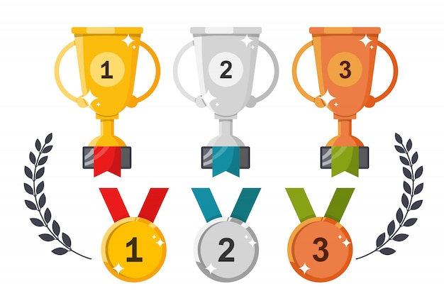 Bekers en medailles. set onderscheidingen op a