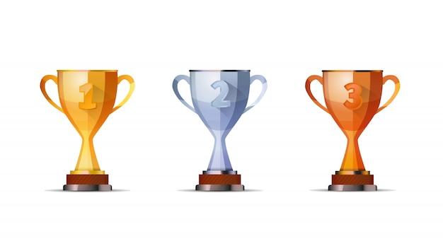 Bekers van winnaarsprijs voor eerste, tweede en derde winnaarspositie