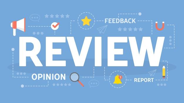 Bekijk concept illustratie. idee van feedback en advies.