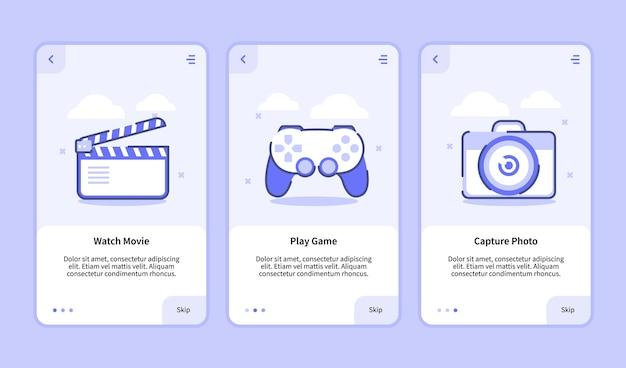 Bekijk de foto voor het maken van films voor het maken van games voor de sjabloon voor mobiele apps