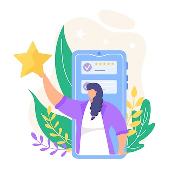 Bekijk feedback illustratie. cartoon kleine mensen beoordelen online beoordeling in smartphone of computer app pictogrammen geïsoleerd op wit