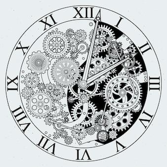 Bekijk onderdelen. klokmechanisme met tandwielen.