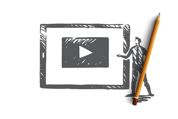 Bekijk onze video, internet, play, media, webconcept. handgetekend scherm met het afspelen van video concept schets.