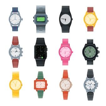 Bekijk vector zakelijke polshorloge of mode pols klok met uurwerk