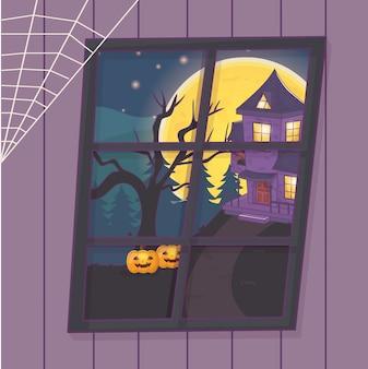 Bekijk venster huis pompoenen boom enge halloween