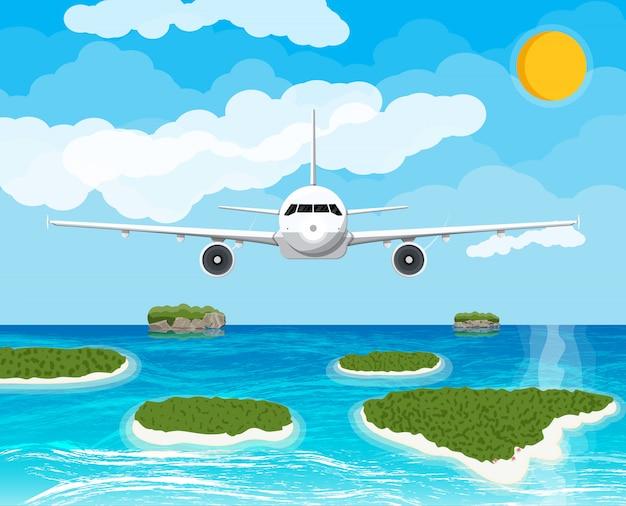 Bekijk vliegtuigen in de lucht. tropische eilanden