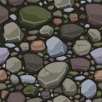 Bekijken van bovenaf cartoon stenen steen textuur, naadloze achtergrond