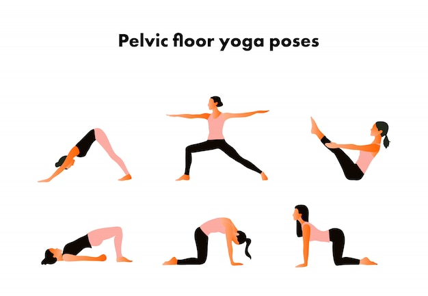 Bekkenbodem yoga houdingen. vrouw gezondheid. yoga asana's.