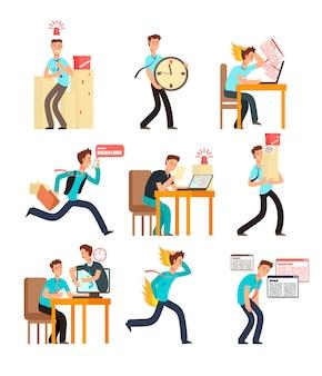 Beklemtoonde bureaumensen voor uiterste termijn en tijdbeheerconcept. zakenman onder deadline werklast. vector tekens