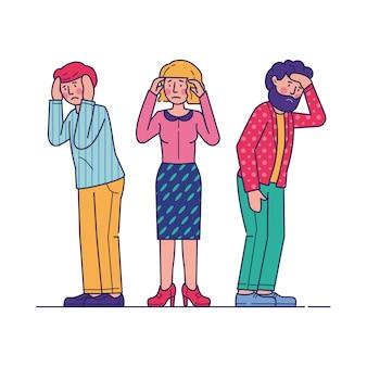 Beklemtoonde mannen en vrouwen die hoofdpijn voelen