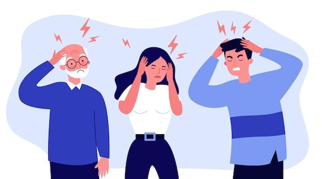 Beklemtoonde mensen die aan hoofdpijn lijden