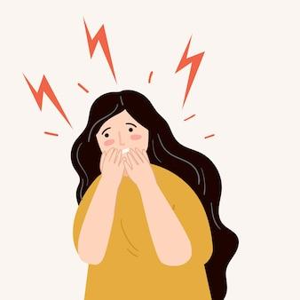 Beklemtoonde vrouw met illustratie van de paniekaanval