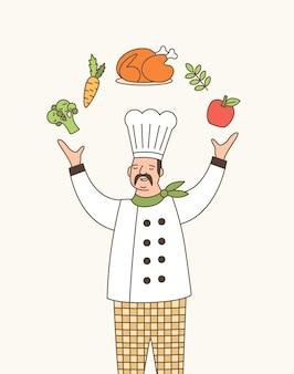 Bekwame chef-kok overzicht vectorillustratie. professionele dromerige kok in witte jas en koksmuts jongleren met voedsel stripfiguur. talentvolle restaurantmedewerker. gastronomische keukenexpert.