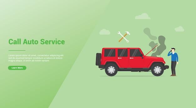Bel auto service auto mobiel kapot of beschadigd met zwarte rook