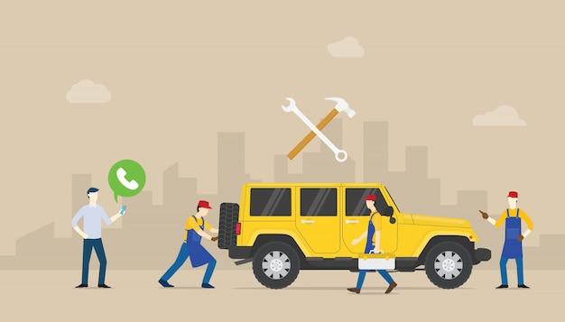 Bel auto service auto mobiel met teammensen van mechanische reparatie van de auto