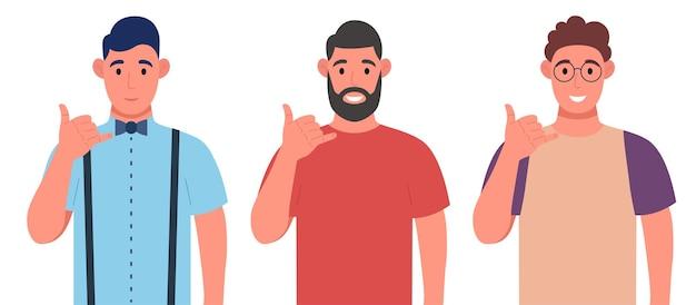 Bel me! mannen tonen telefoon of bellen me gebaar met handvingers in de vorm van een telefoon. karakterset. vector illustratie.