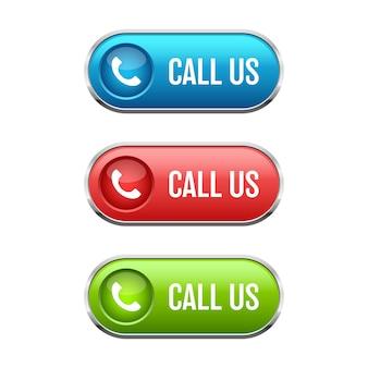 Bel ons knop illustratie op witte achtergrond