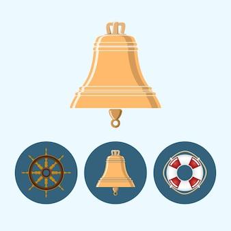 Bel. set met 3 ronde kleurrijke pictogrammen, bel, reddingsboei, schip wiel vectorillustratie