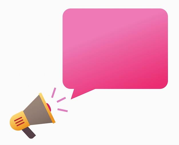 Belangrijk bericht aankondigingsbericht in bubble toespraak concept vorm megafoon