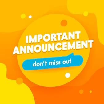 Belangrijke aankondigingsbanner, promotie en winkelsjabloon voor hete aanbieding en verkoop.