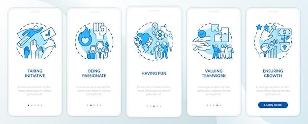 Belangrijkste kernwaarden van het bedrijf onboarding paginascherm voor mobiele apps met concepten