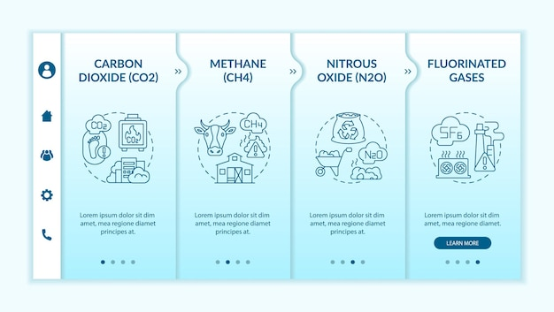 Belangrijkste soorten broeikasgassen onboarding vector sjabloon. responsieve mobiele website met pictogrammen. webpagina walkthrough 4 stap schermen. methaan, f-gassen kleurconcept met lineaire illustraties