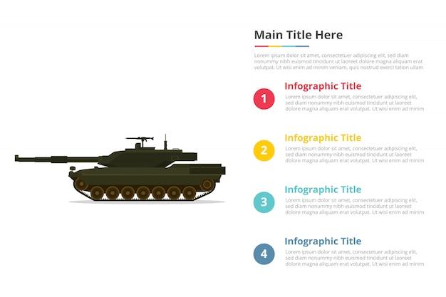 Belangrijkste tank gevecht infographics sjabloon met vier punten