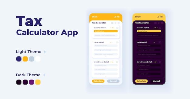 Belasting calculator app cartoon smartphone interface sjablonen set. mobiele app-schermpagina dag- en nachtmodus. ui voor belastingschatter voor toepassing. telefoonscherm met illustraties