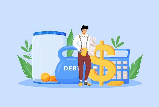 Belasting calculator platte concept illustratie. financier, econoom, belastingbetaler die rekeningen bestudeert 2d-stripfiguur voor webdesign. financieel beheer, economische geletterdheid, creatief idee van budgetcontrole