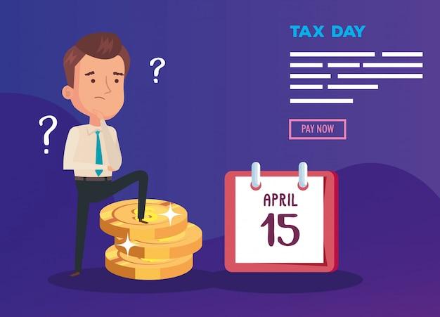 Belasting dag illustratie met denkende zakenman