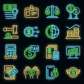 Belasting regelgeving pictogrammen instellen. overzicht set van belasting regelgeving vector iconen neon kleur op zwart