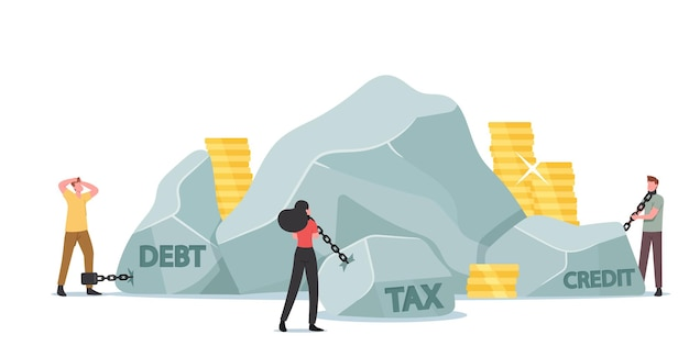 Belasting zware last, belasting lening betaling financieel concept. zakelijke personages trekken enorme stenen met gouden munten rond