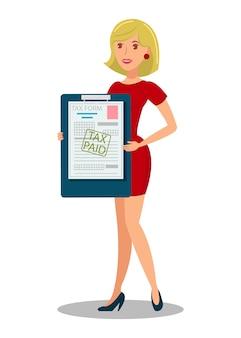 Belastingbetaler holding document flat vectorillustratie