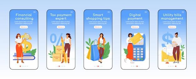 Belastingbetalingen helpen onboarding mobiele app-schermsjabloon. financiële ondersteuning walkthrough website stappen met personages. ux, ui, gui smartphone cartoon-interface, case prints ingesteld