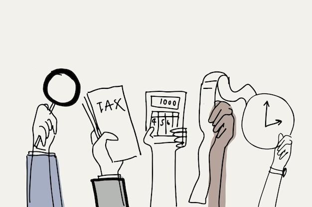 Belastingcontrole doodle vector schuld concept