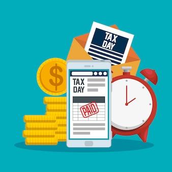 Belastingdag 15 april. smartphone met servicebelastingrapport en munten