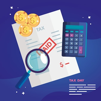 Belastingdag illustratie met rekenmachine en document