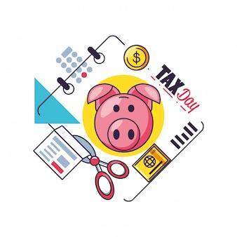 Belastingdag met spaarvarken en vastgestelde pictogrammen