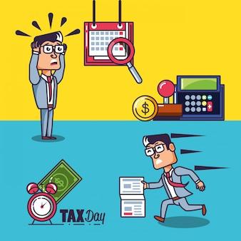 Belastingdag met zakenlieden en vastgestelde pictogrammen