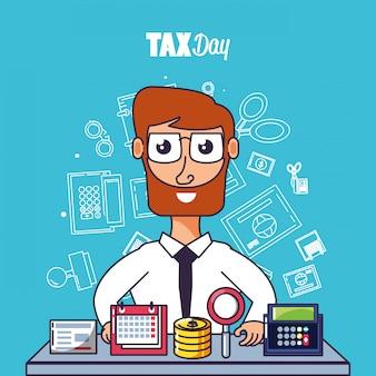 Belastingdag met zakenman en vastgestelde pictogrammen
